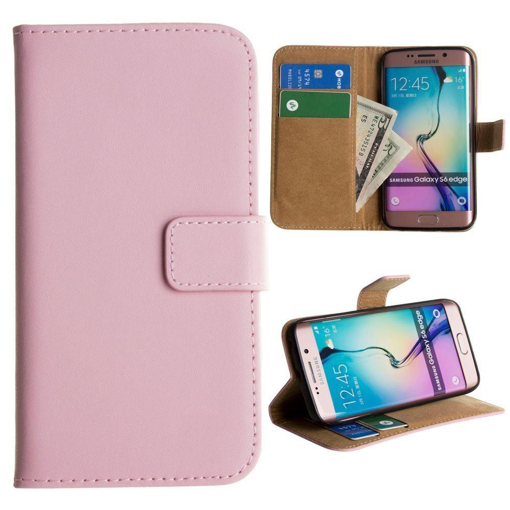 - Genuine Leather Folding Wallet Case, Baby Pink for Samsung Galaxy S6 Edge