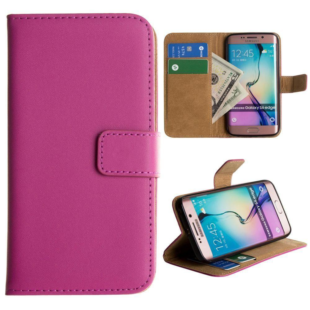 - Genuine Leather Folding Wallet Case, Hot Pink for Samsung Galaxy S6 Edge