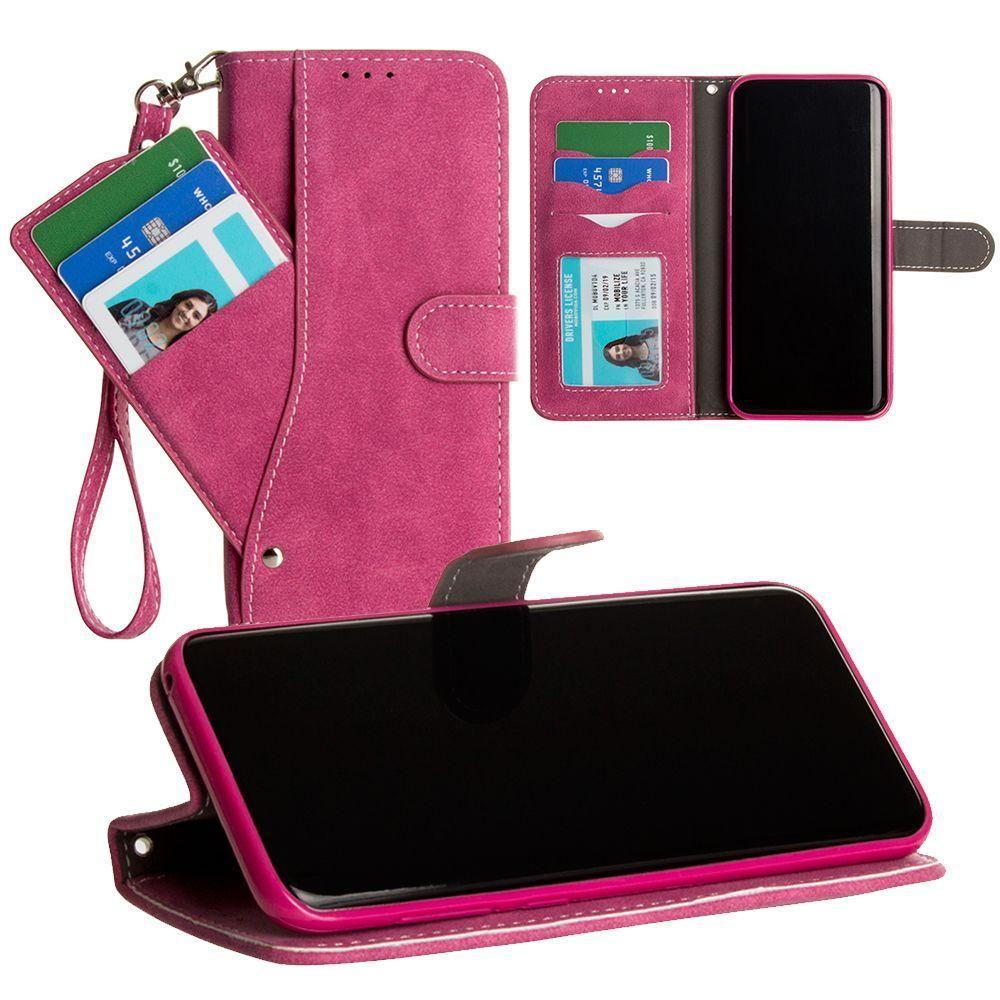 - Ultrasuede Folding Wallet Case with Slide out Card Holder and Wrist-Strap, Hot Pink for Galaxy S8 Plus