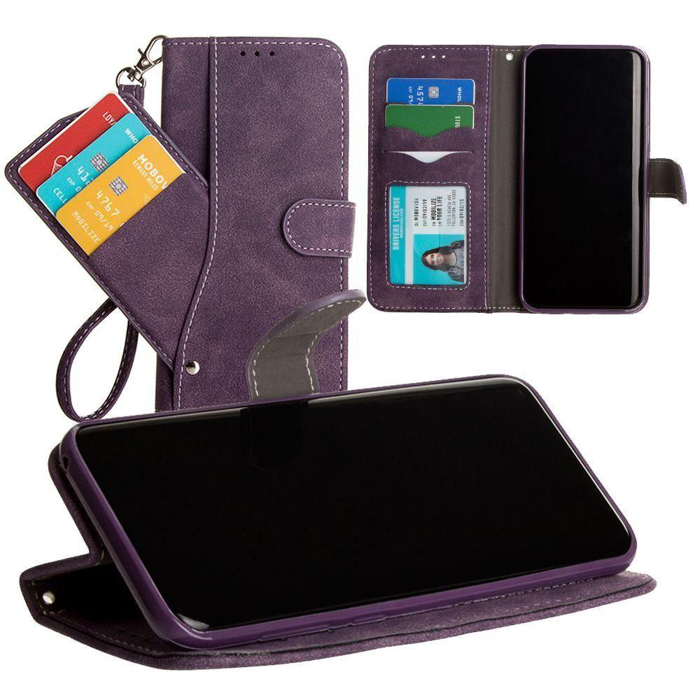 - Ultrasuede Folding Wallet Case with Slide out Card Holder and Wrist-Strap, Purple for Galaxy S8 Plus