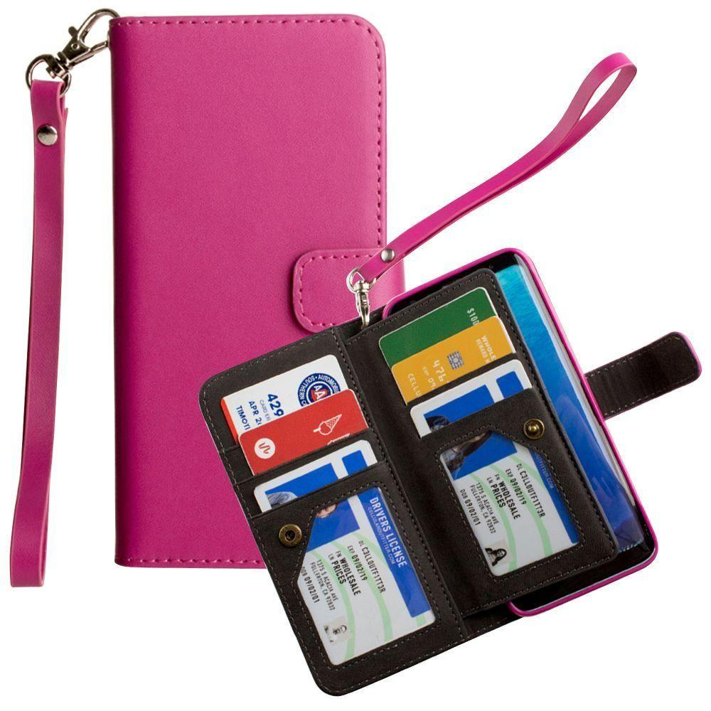 - Limited Edition Multi-Card Wallet Case with Wristlet, Pink for Samsung Galaxy S8