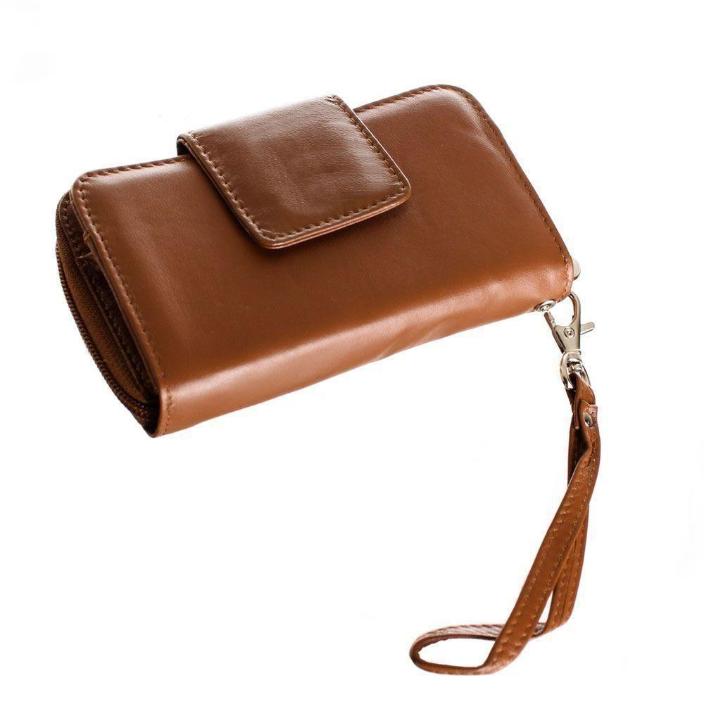 - Limited Edition Genuine Leather Wristlet Clutch Wallet with Phone Holder, Brown