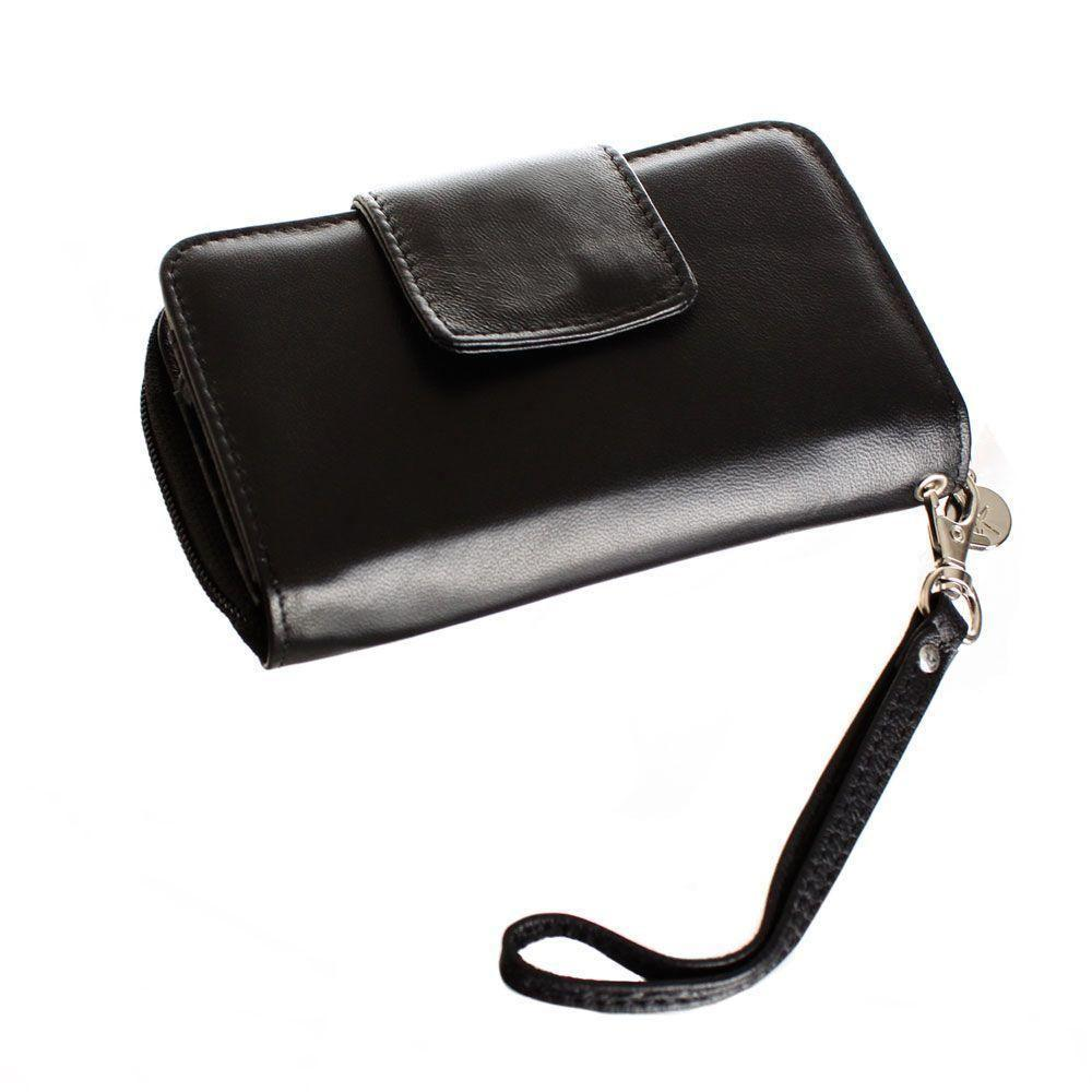 - Limited Edition Genuine Leather Wristlet Clutch Wallet with Phone Holder, Black