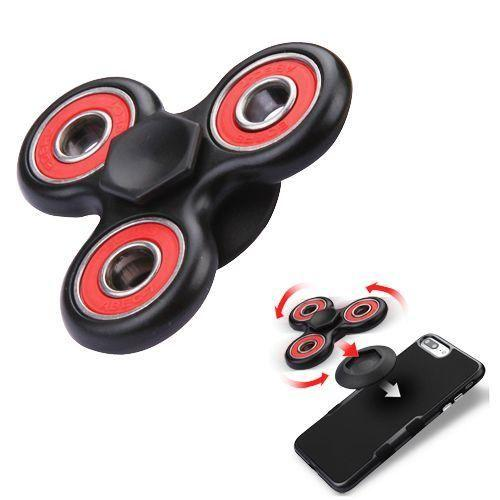 - Fidget Toy Spinner with Adhesive and Holder, Black/Red