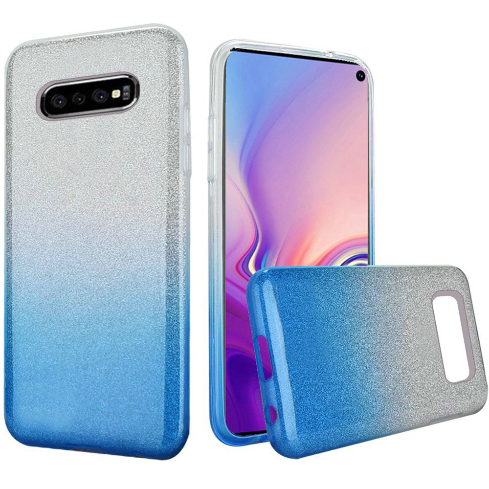Two Tone Glitter Hybrid Protective Case, Light Blue for Samsung Galaxy S10