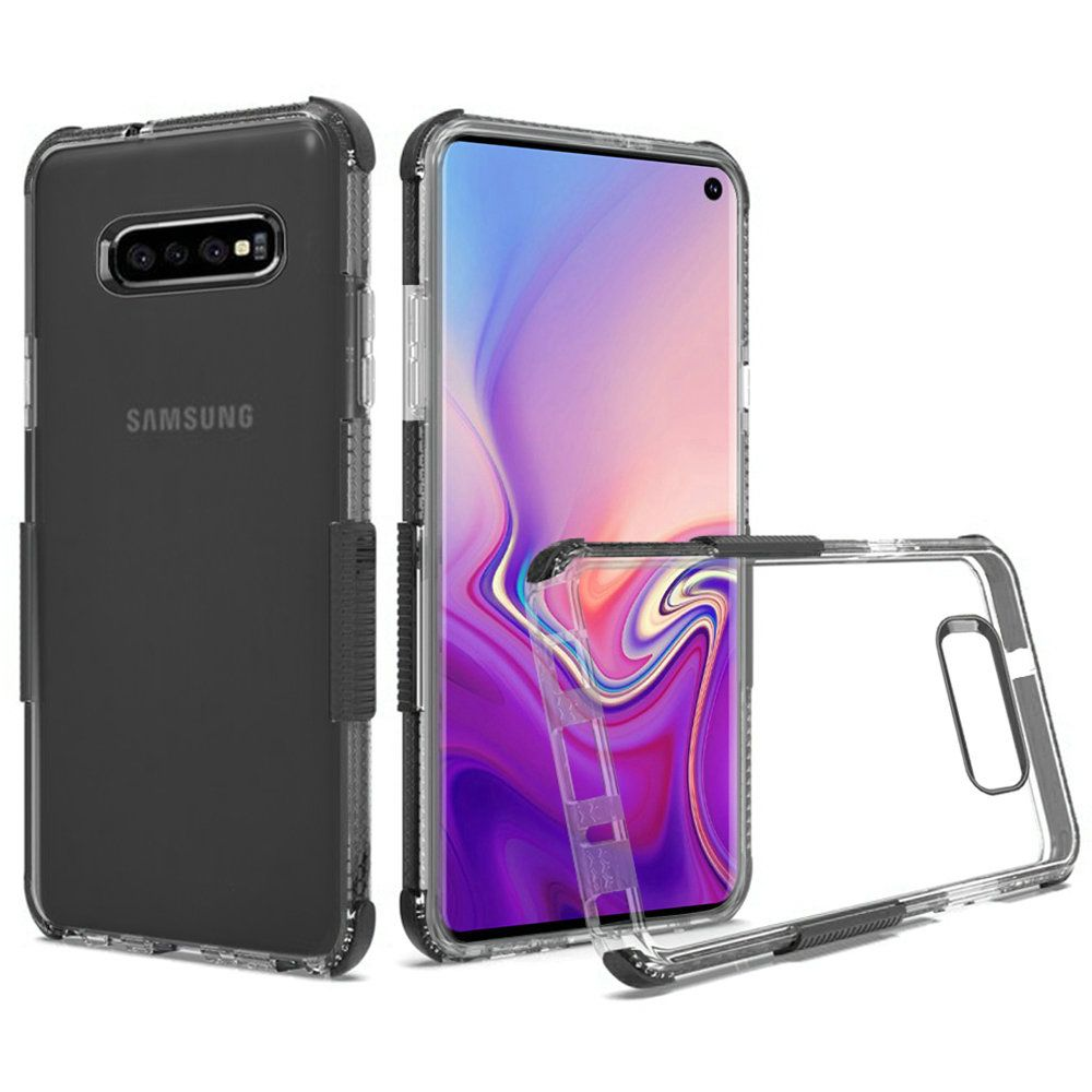 Premium Protective Clear Case with Colored Shockproof Bumpers, Clear/Black for Samsung Galaxy S10