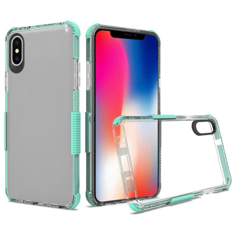 Premium Protective Clear Case with Colored Shockproof Bumpers, Teal for Apple iPhone XR