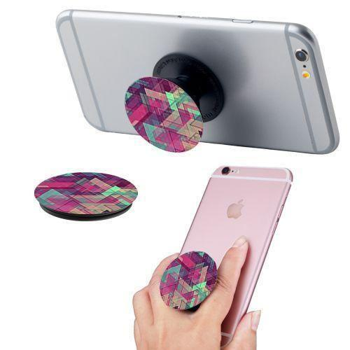 Htc One Mini - Geometric Design Expandable Phone Grip and Stand, Multi-Color