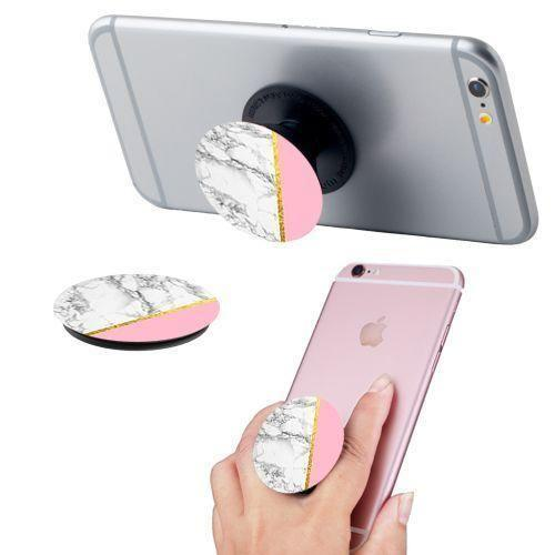 Apple Iphone 4 - Marble Colorblock Expandable Phone Grip and Stand, White/Pink
