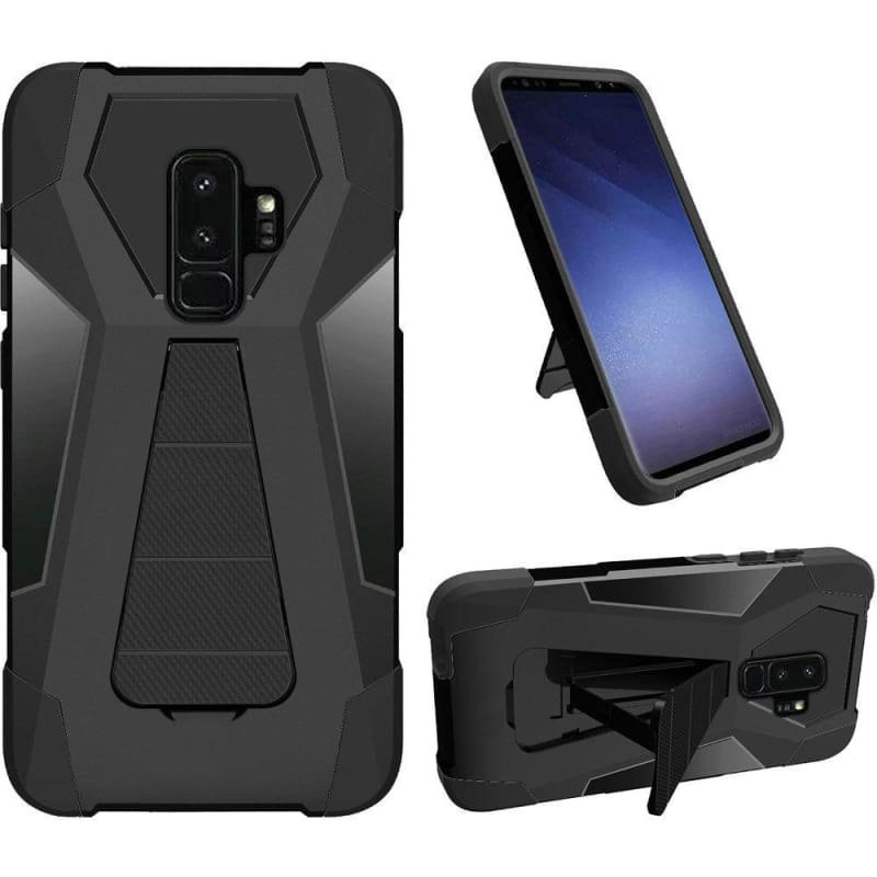 the best attitude 931fa cc94d Samsung Galaxy S9 Plus Mighty Dual Layer Rugged Case with Kickstand, Black