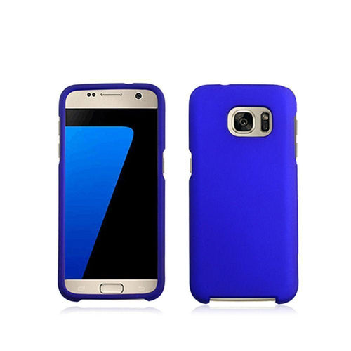 Samsung Galaxy S7 - Colorful Rubber Snap-on Case with Metal Bumper, Blue for Samsung Galaxy S7