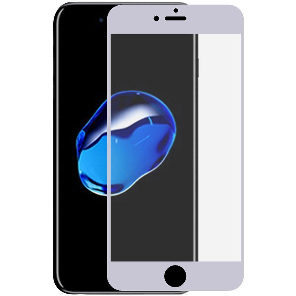 - Full Edge Colored Tempered Glass Screen Protector, Silver for Apple iPhone 7 Plus/iPhone 8 Plus