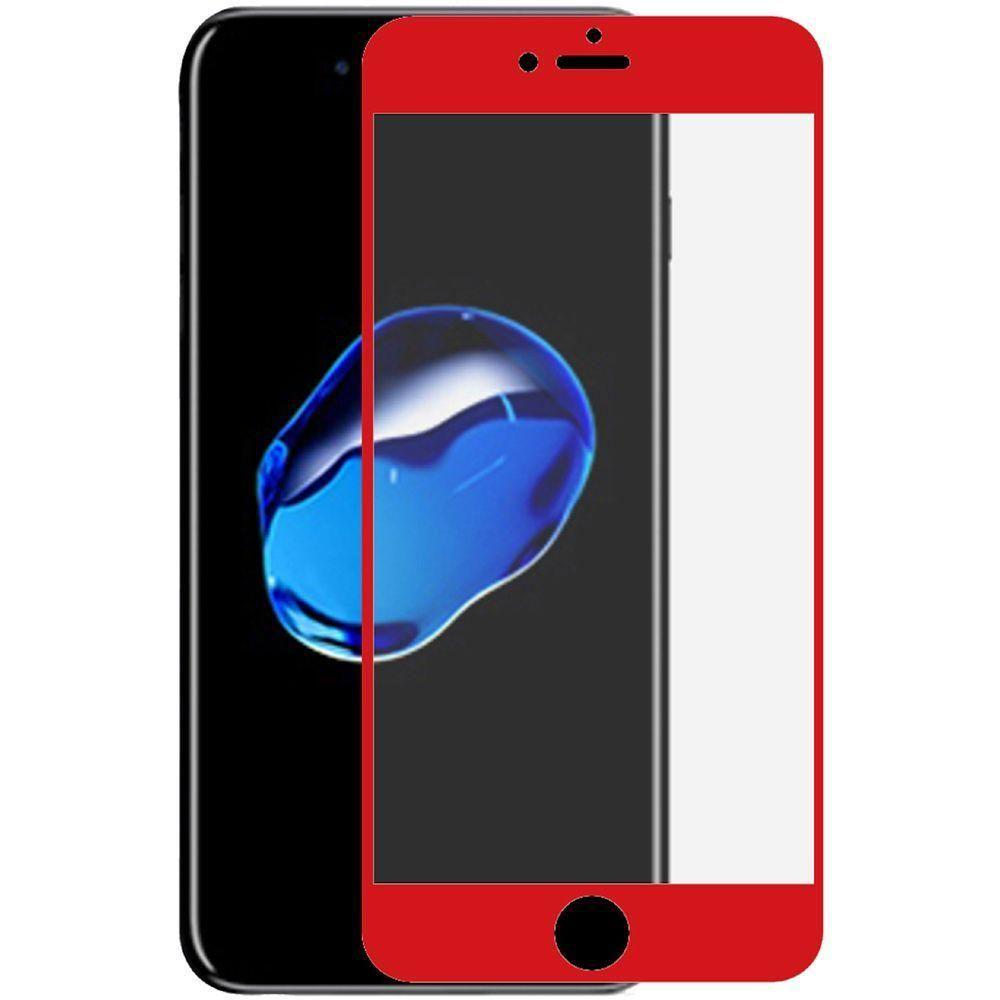 - Full Edge Colored Tempered Glass Screen Protector, Red for Apple iPhone 7 Plus/iPhone 8 Plus