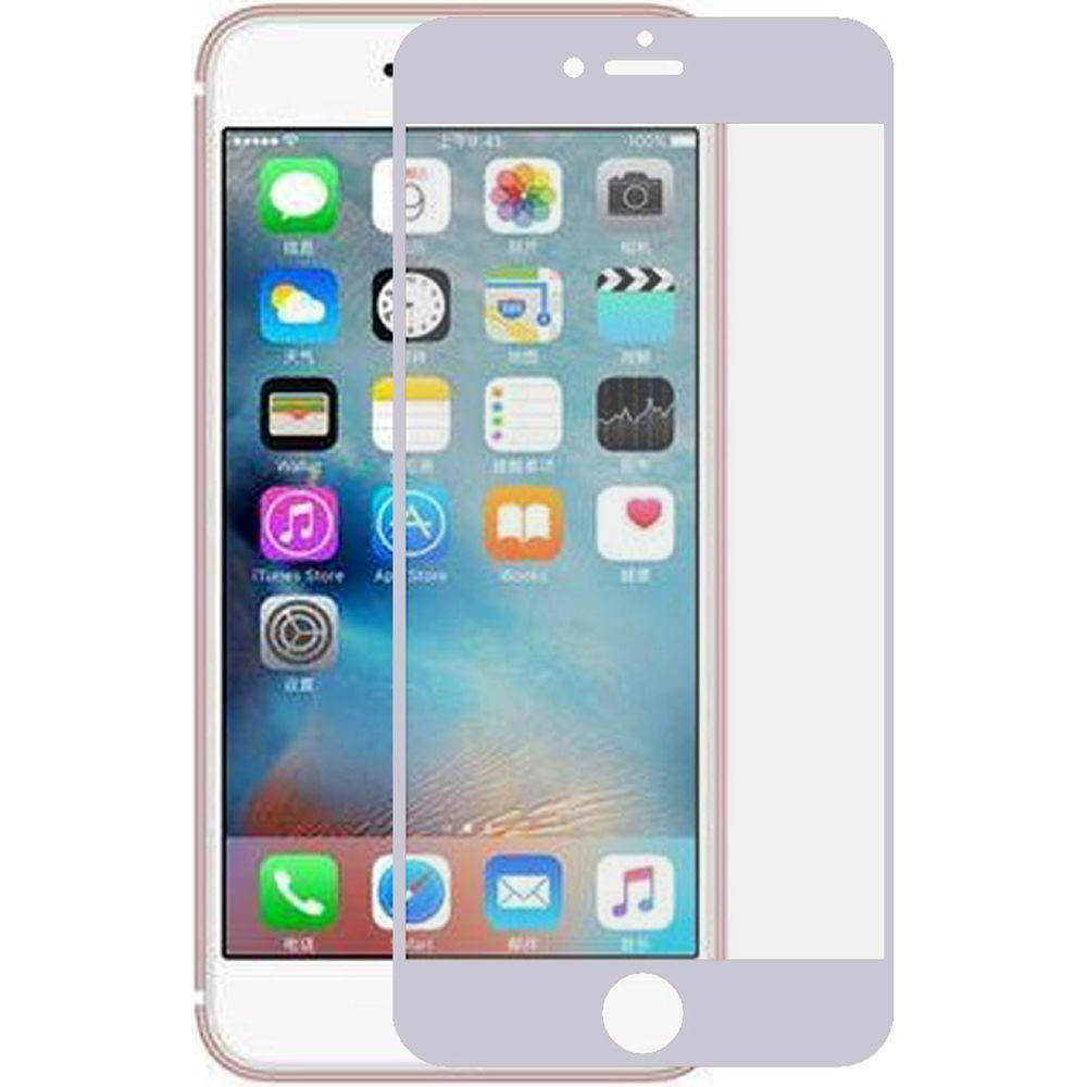 - Full Edge Colored Tempered Glass Screen Protector, Silver for Apple iPhone 7/iPhone 8