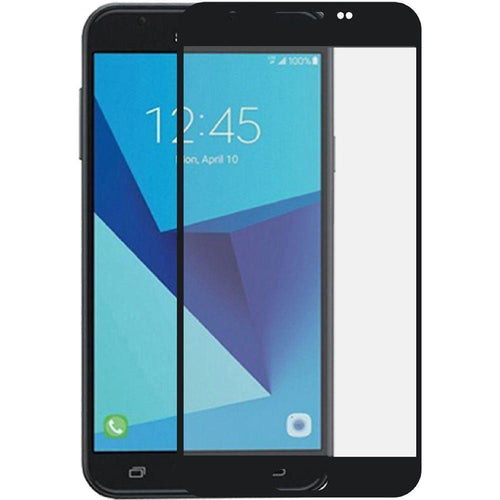 Samsung Galaxy J7 V - Full Edge Colored Tempered Glass Screen Protector, Black