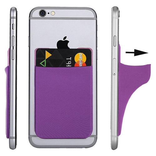 Apple Iphone 4 - Lycra Spandex Stick-on Card Pocket, Purple