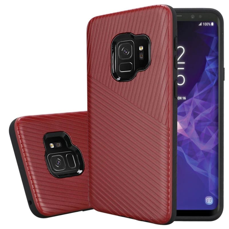 Embossed Lines Hard Plastic PC TPU Hybrid Case, Red for Samsung Galaxy S9