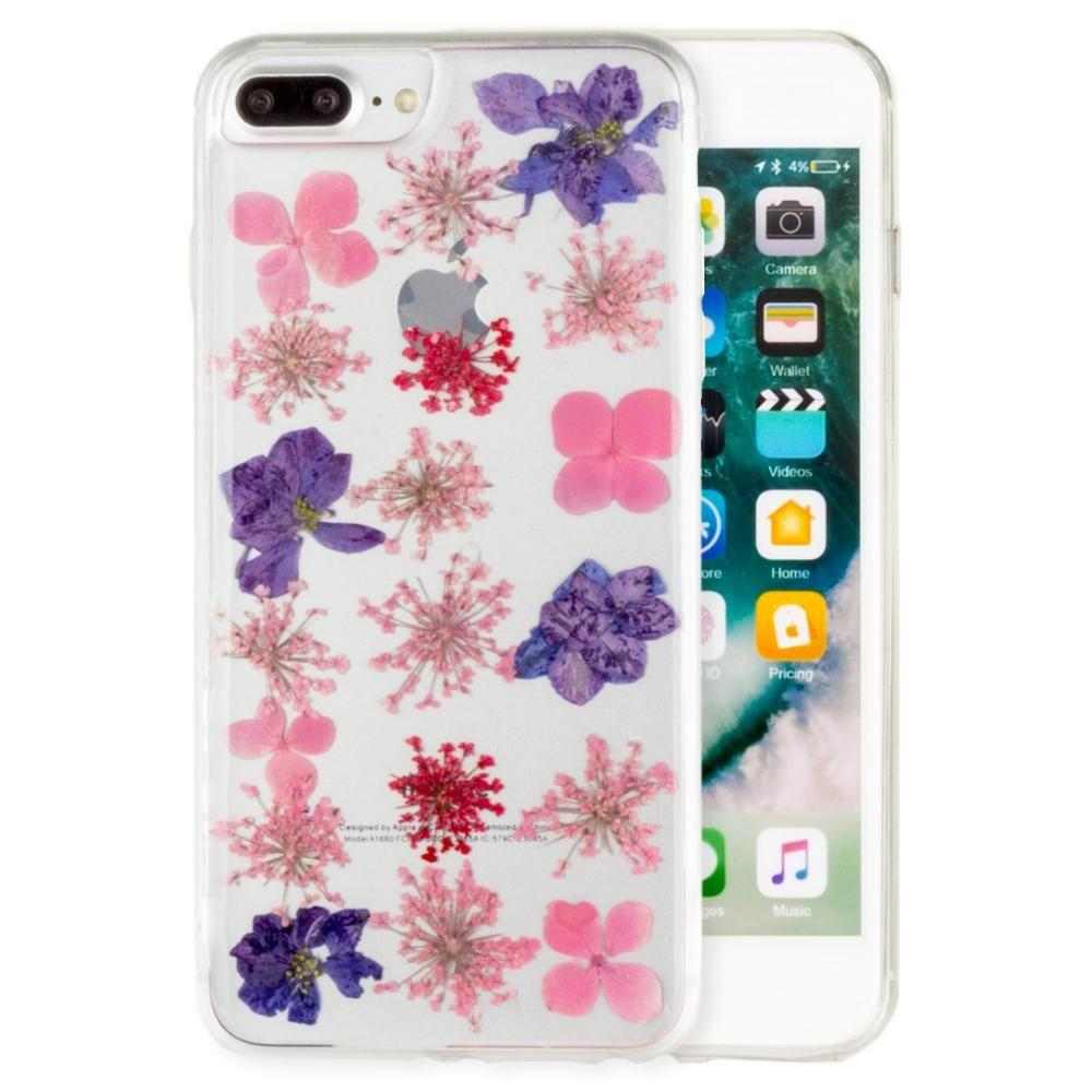 - Real Pressed Flower Floral Case, Purple/Clear for Apple iPhone 6 Plus/iPhone 6s Plus/iPhone 7 Plus/iPhone 8 Plus