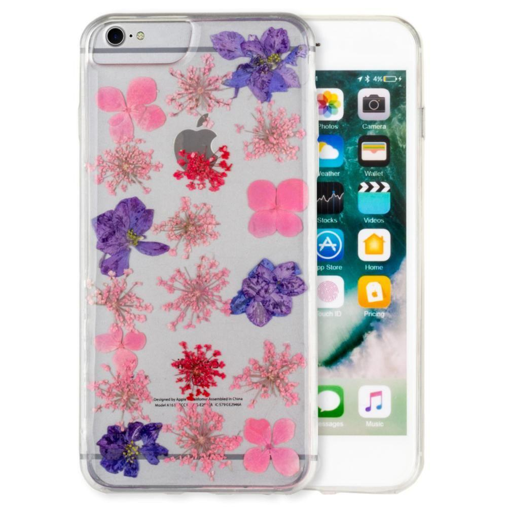 - Real Pressed Flower Floral Case, Purple/Clear for Apple iPhone 6/iPhone 6s/iPhone 7/iPhone 8