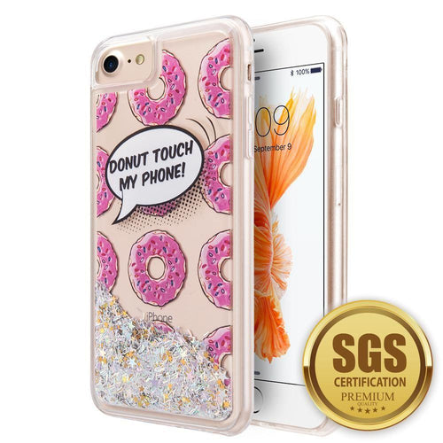Apple Iphone 6 - Donut Touch my Phone Printed Liquid Waterfall Quicksand Case, Multi-Color for Apple iPhone 6/iPhone 6s/iPhone 7/iPhone 8
