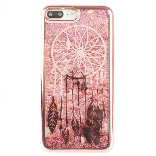 Apple Iphone 8 Plus - Dreamcatcher Printed Liquid Waterfall Quicksand Case, Rose Gold for Apple iPhone 7 Plus/iPhone 8 Plus