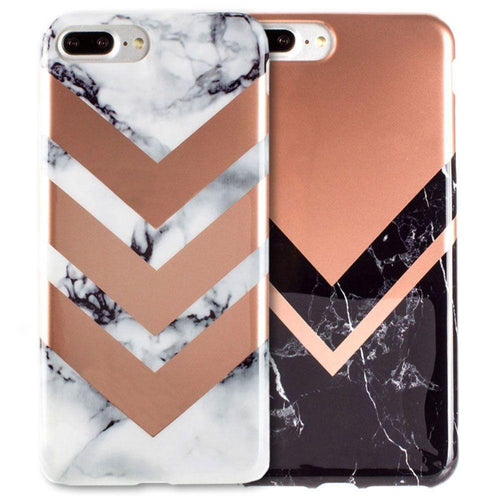 Apple Iphone 8 Plus - Marble Color Block Slim Case 2-Pack, Gray/Rose Gold for Apple iPhone 7 Plus/iPhone 8 Plus