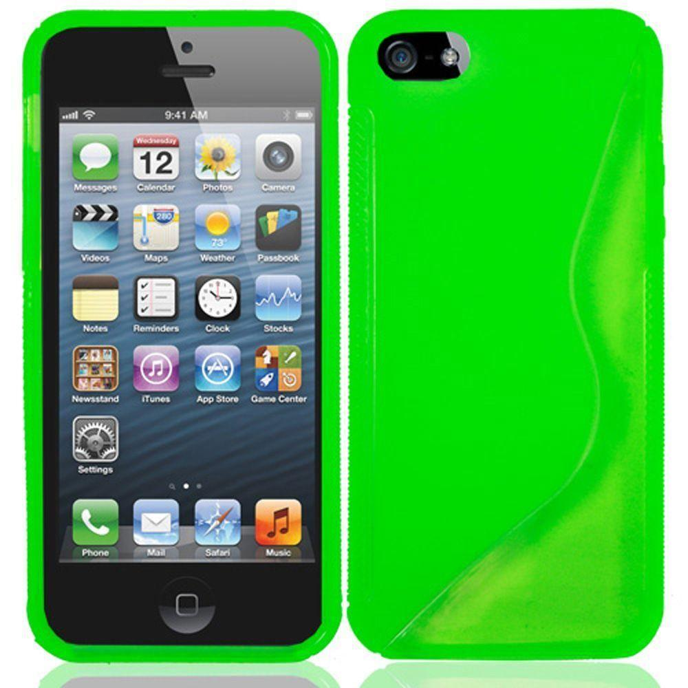 - S-Shape TPU Case, Neon Green for Apple iPhone 5/iPhone 5s/iPhone SE