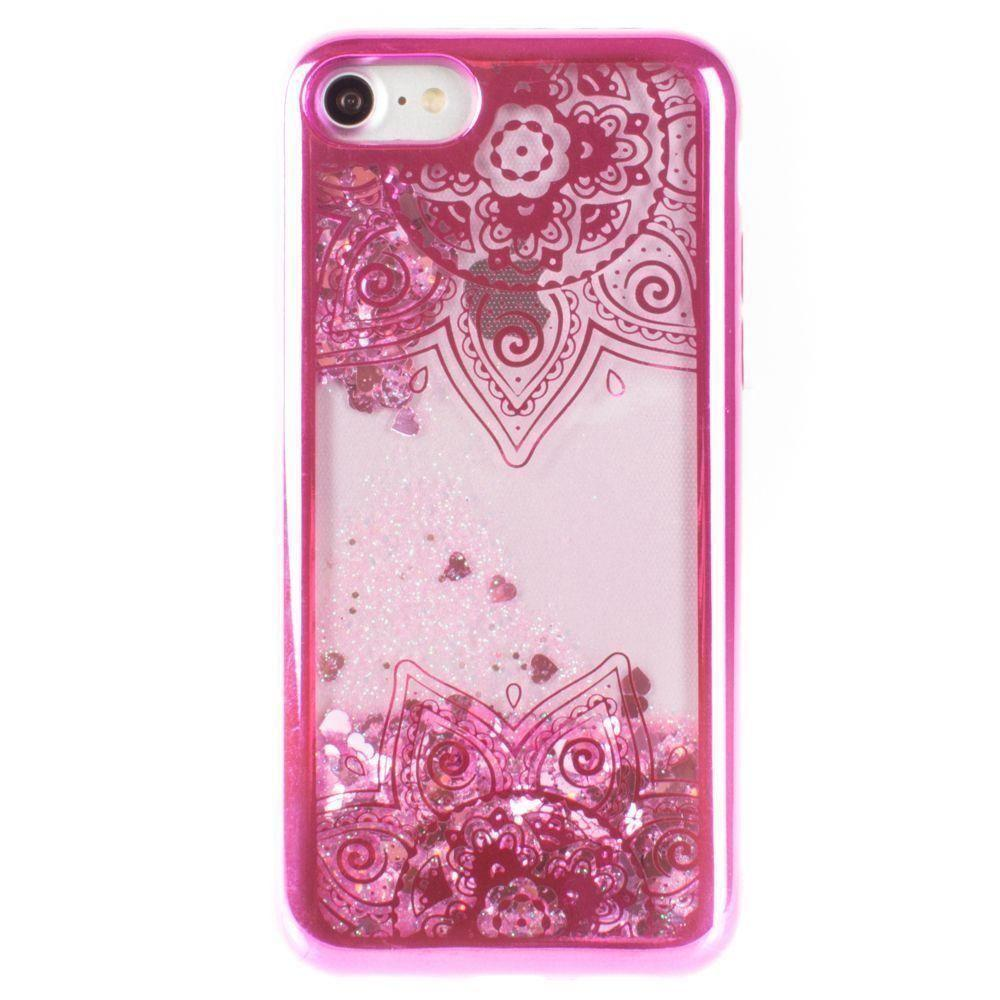 - Mandala Printed Liquid Waterfall Quicksand Case, Hot Pink for Apple iPhone 7/iPhone 8