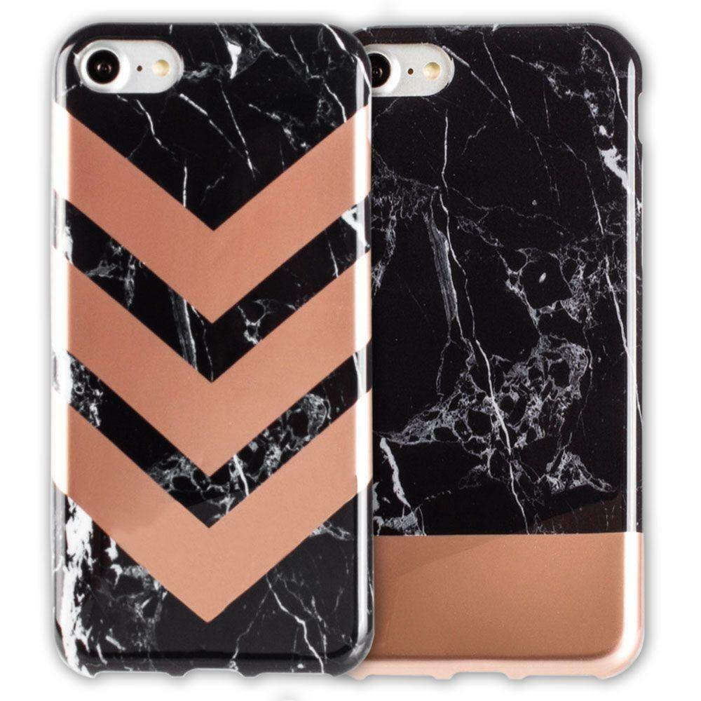 - Marble Color Block Slim Case 2-Pack, Black/Rose Gold for Apple iPhone 7/iPhone 8
