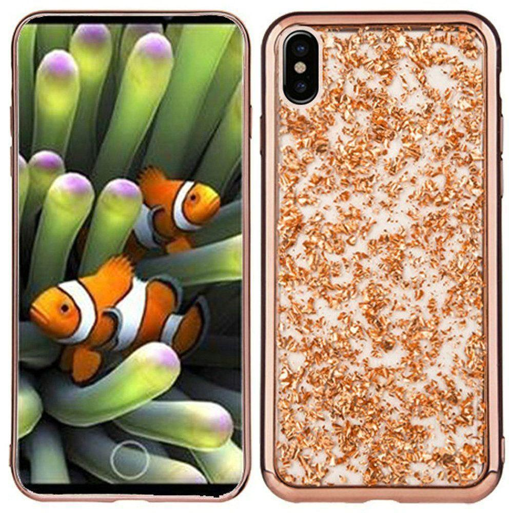 - Slim Fashion Sparkling Flake TPU Case, Rose Gold for Apple iPhone X