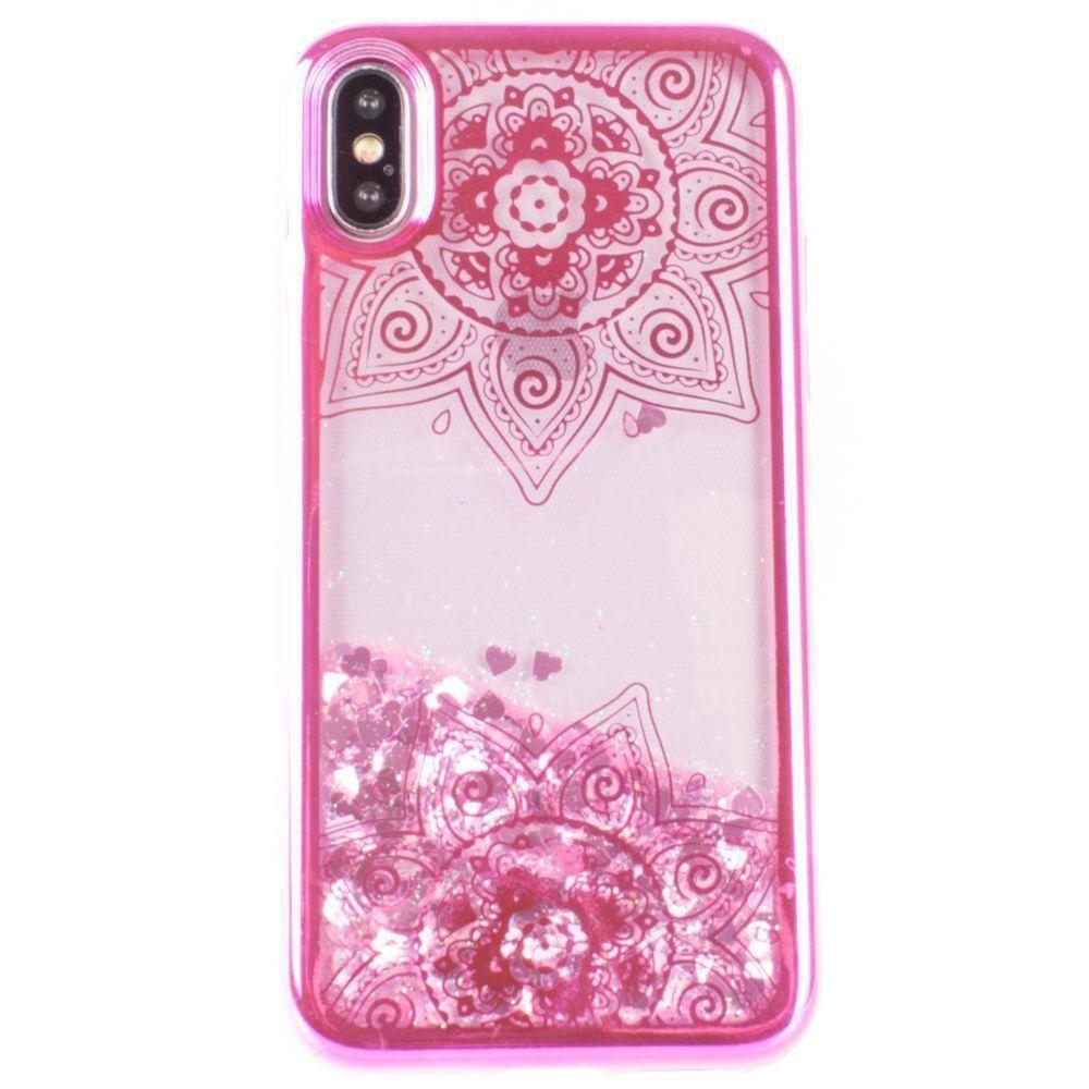 - Mandala Printed Liquid Waterfall Quicksand Case, Hot Pink for Apple iPhone X