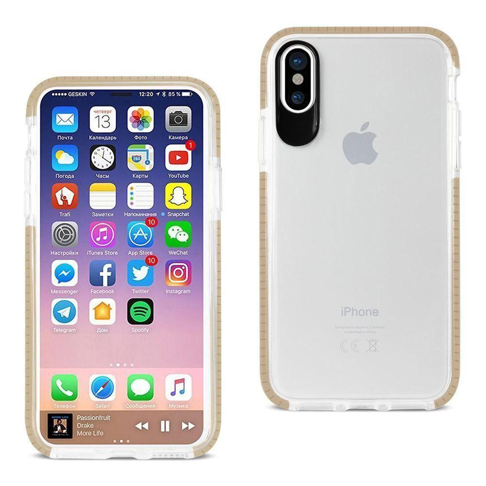 - Sleek crystal clear rugged case with colored trim, Clear/Gold for Apple iPhone X
