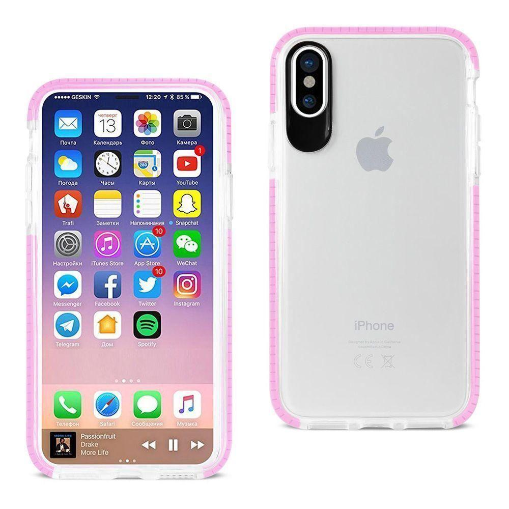 - Sleek crystal clear rugged case with colored trim, Clear/Pink for Apple iPhone X