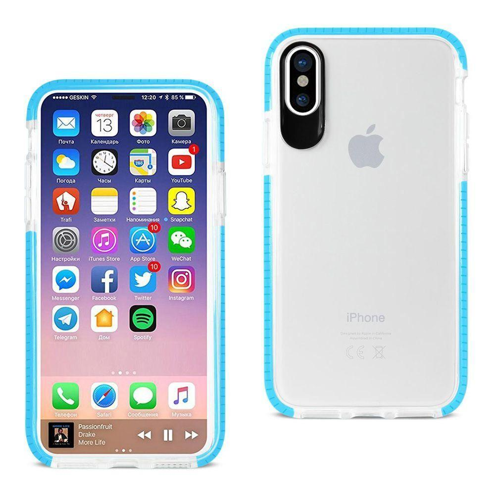 - Sleek crystal clear rugged case with colored trim, Clear/Blue for Apple iPhone X