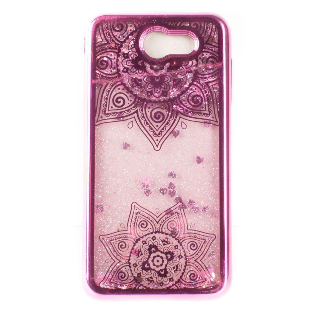 - Mandala Printed Liquid Waterfall Quicksand Case, Hot Pink
