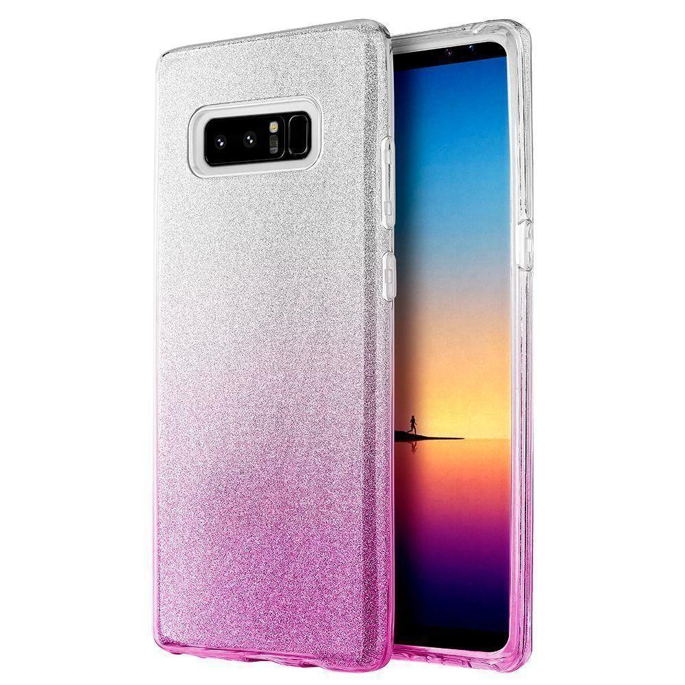 - Two Tone TPU Glitter Case, Pink/Silver for Samsung Galaxy Note 8