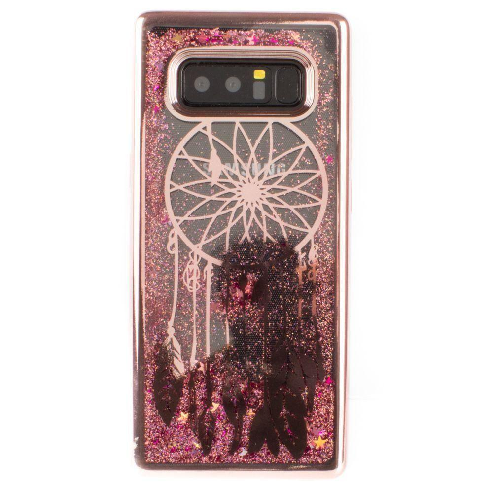 - Dreamcatcher Printed Liquid Waterfall Quicksand Case, Rose Gold for Samsung Galaxy Note 8