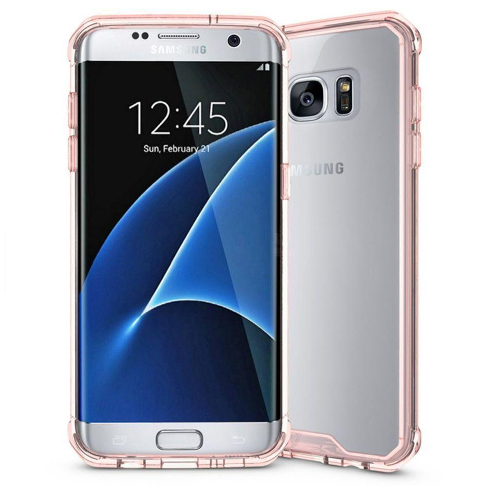 - Anti-Shock Grip TPU Bumper Case, Pink/Clear for Samsung Galaxy S7 Edge