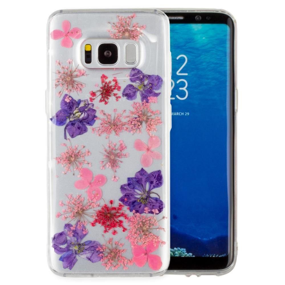 - Real Pressed Flower Floral Case, Purple/Clear for Galaxy S8 Plus