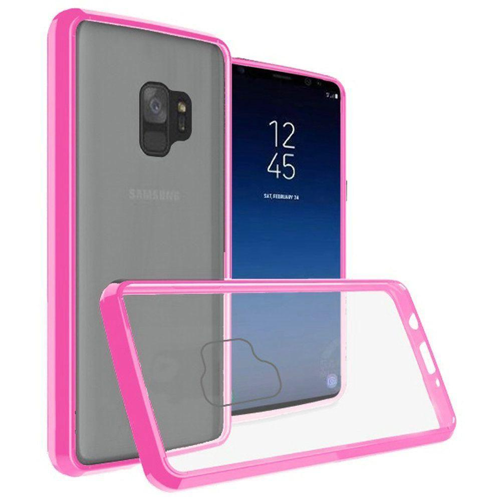 - Slim Bumper Transparent TPU Case, Pink/Clear for Samsung Galaxy S9
