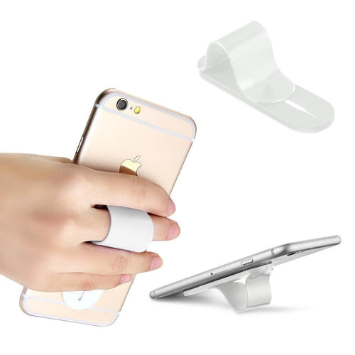 Motorola Droid 3 - Stick-on Retractable Finger Phone Grip Holder, White