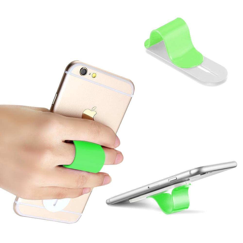 - Stick-on Retractable Finger Phone Grip Holder, Green