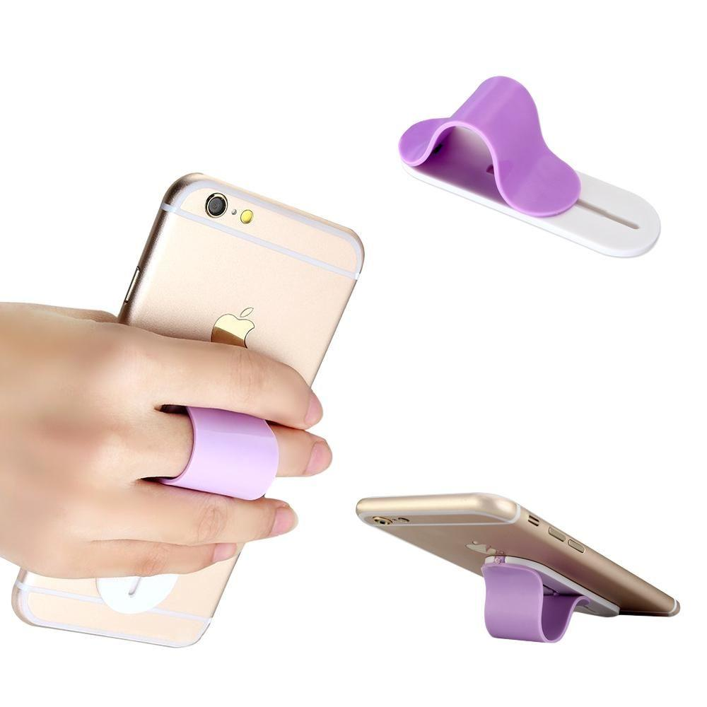 - Stick-on Retractable Finger Phone Grip Holder, Purple