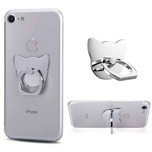 Apple Iphone 4 - Universal Metallic Cat Design Ring Grip and Stand Holder, Silver