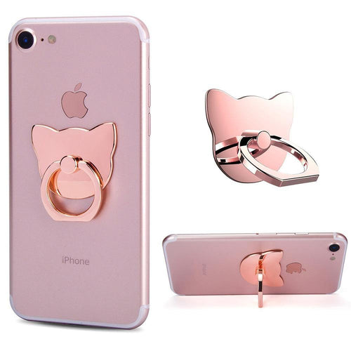 Apple Iphone 4 - Universal Metallic Cat Design Ring Grip and Stand Holder, Rose Gold