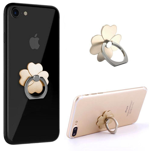 Samsung Sph A660 - Universal Metallic Clover Design Ring Grip and Stand Holder, Gold