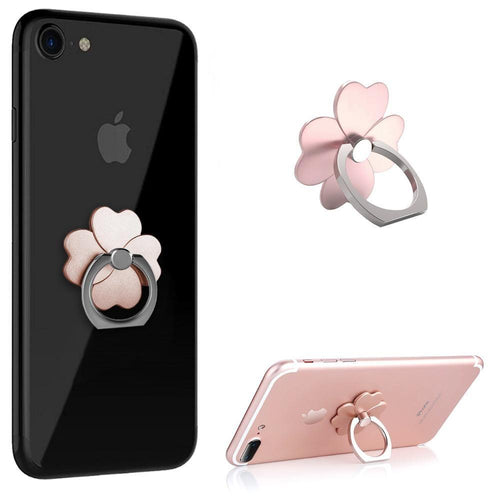 Samsung Sgh A197 - Universal Metallic Clover Design Ring Grip and Stand Holder, Rose Gold
