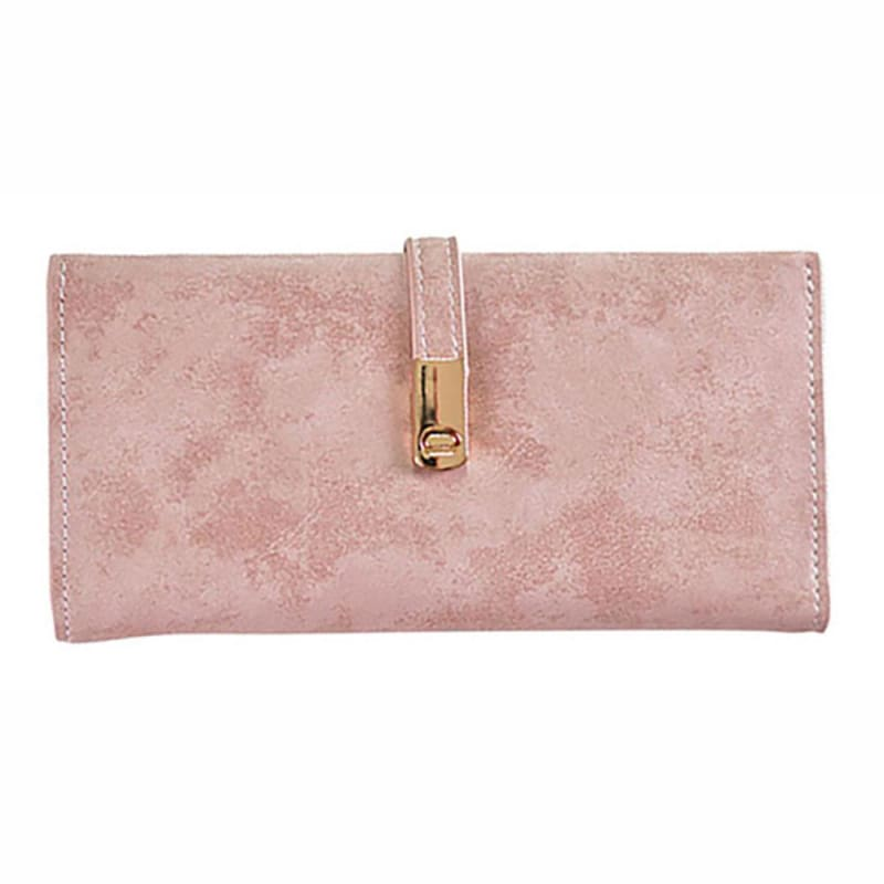 new products 3d615 6b998 Slim Vegan Leather Clutch Wallet with Strap Closure, Light Pink