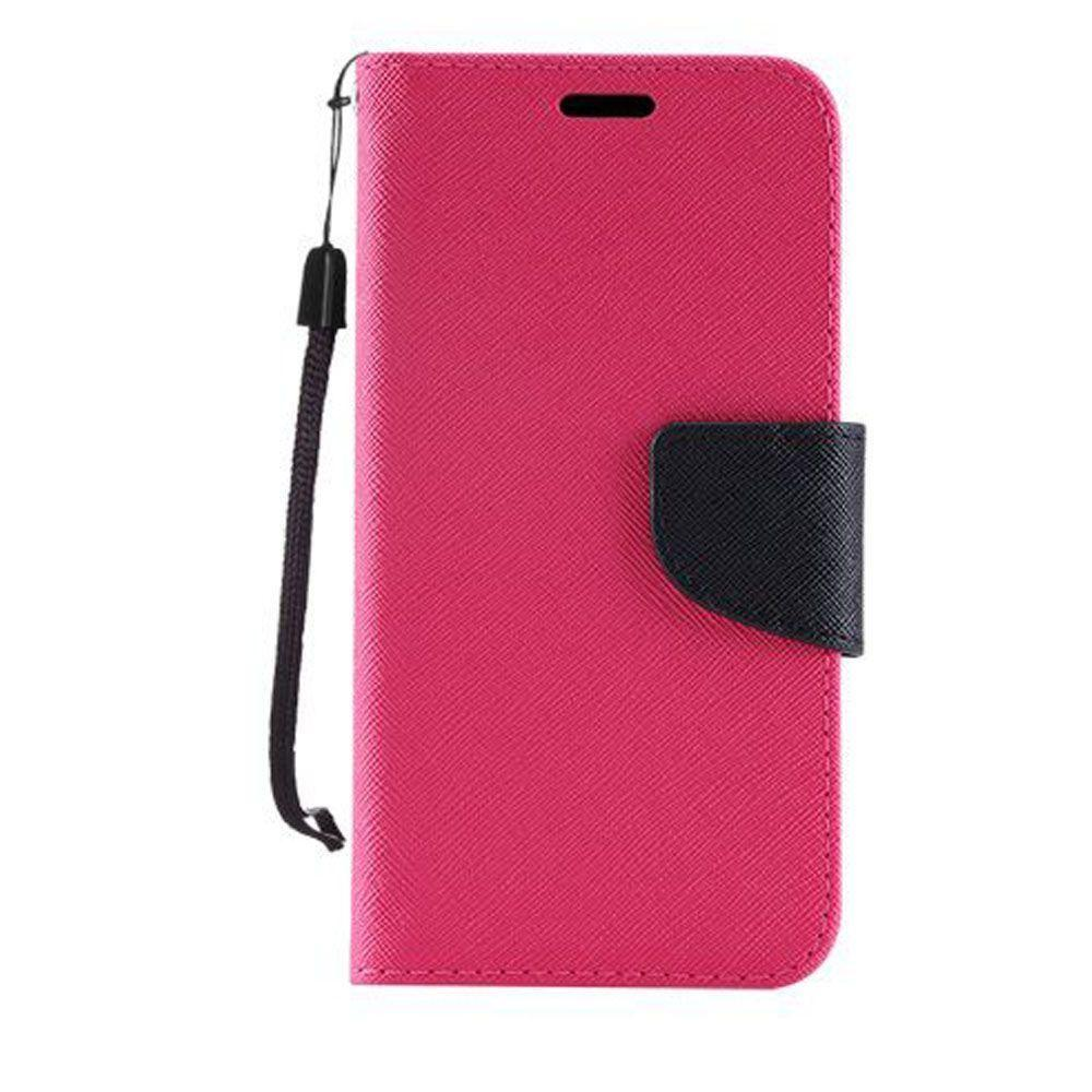 - Premium 2 Tone Leather Folding Wallet Case, Hot Pink/Black
