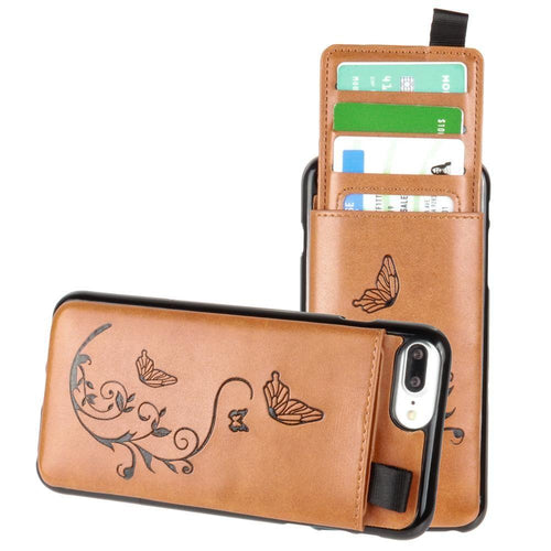 Apple Iphone 8 Plus - Embossed Butterfly Leather Case with Pull-Out Card Slot Organizer, Taupe for Apple iPhone 6 Plus/iPhone 6s Plus/iPhone 7 Plus/iPhone 8 Plus